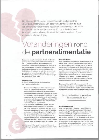 Veranderingen partneralimentatie